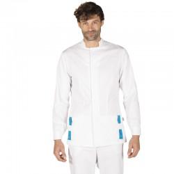 Blusa sanitario chico blanca (trabillas contraste)