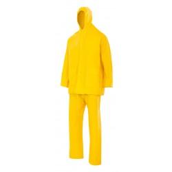 Traje de lluvia dos piezas con capucha amarillo